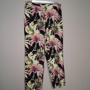 Tommy Bahama Silk cropped pants Black Floral
